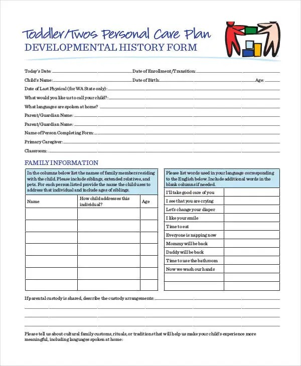 Personal Care Plan Templates - 12+ Free PDF Format Download! Free