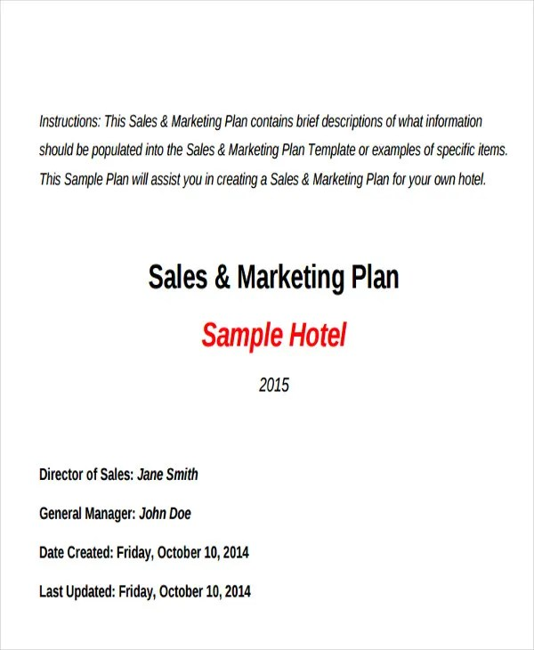 Hotel Sales Plan Templates - 9+ Free Word, PDF Format Download - sales plan format