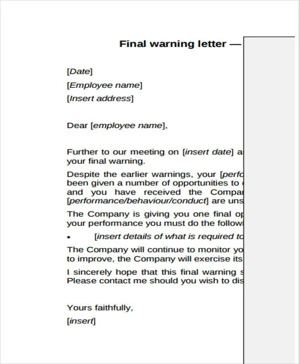 9+ Final Warning Letter Template - 9+ Free Word, PDF Format Download