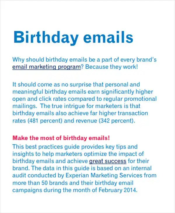 Birthday Wishes For Friend Email 9+ Official Email Templates - Free Psd, Eps, Ai Format