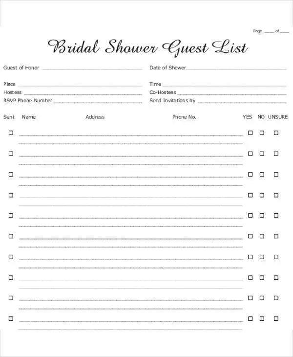 Bridal Shower Gift List Templates - 5+ Free Word, PDF Format - free wedding guest list template