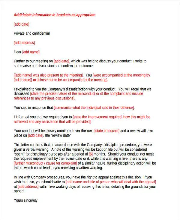 warning letter template for misconduct - Doritmercatodos - writing warning letter for employee conduct