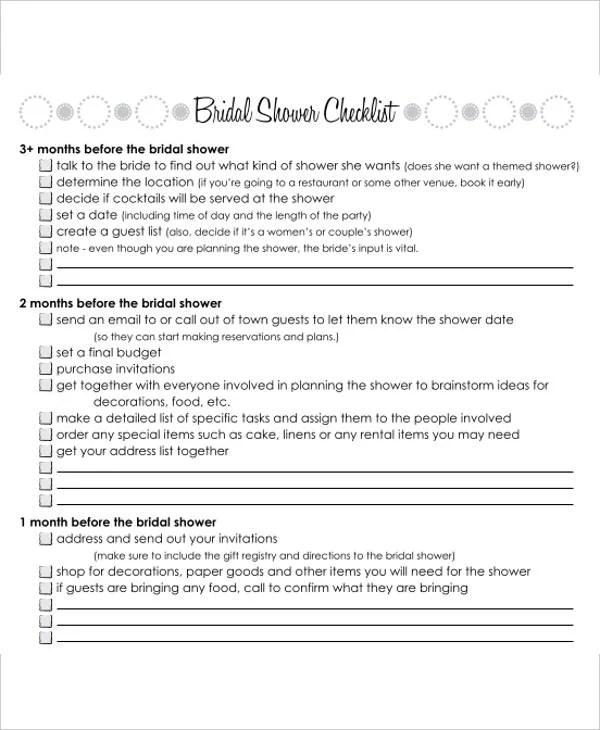 Bridal Shower Gift List Templates - 5+ Free Word, PDF Format - bridal shower checklist