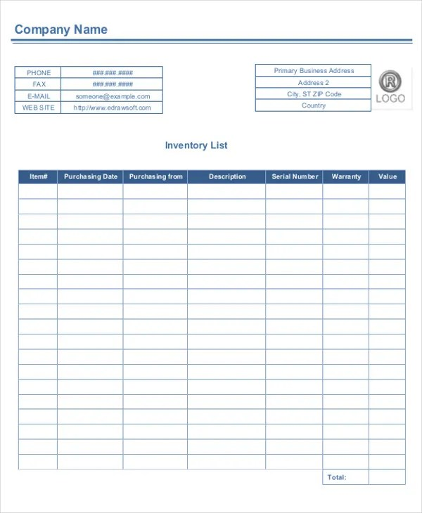 6+ Business Inventory List Templates - Free Word, PDF Format - company inventory template