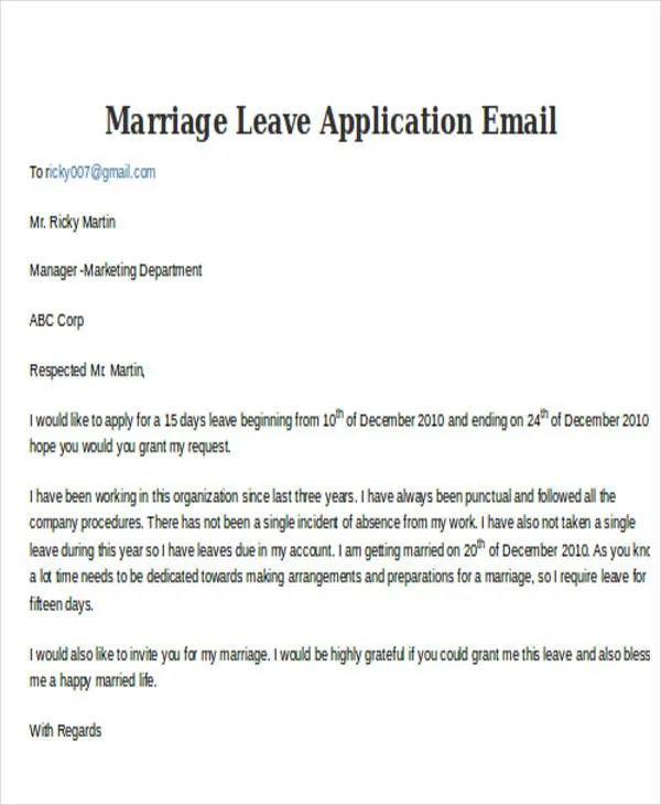 5+ Leave Application E-mail Templates - Free PSD, EPS, AI Format - leave application template