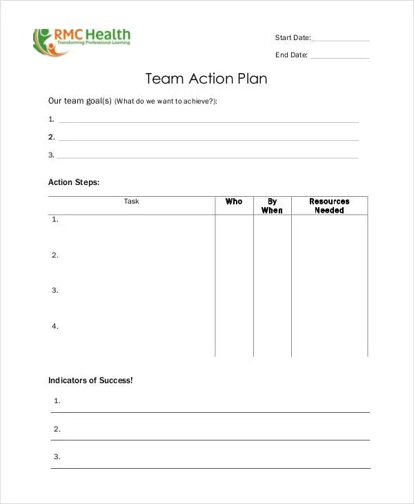 Team Action Plan Templates - 9+ Free PDF Format Download! Free - action plans templates