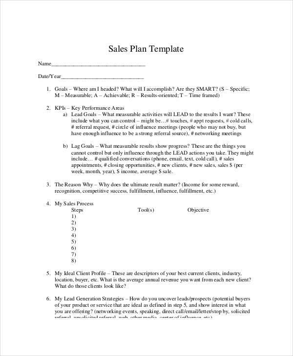 Personal Sales Plan Templates - 5+ Free PDF Format Download! Free