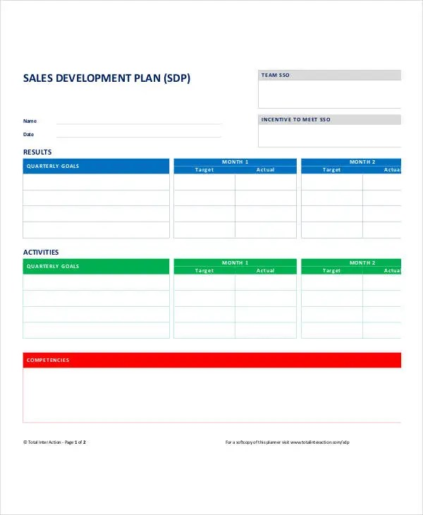 Personal Sales Plan Templates - 5+ Free PDF Format Download - sales plan format
