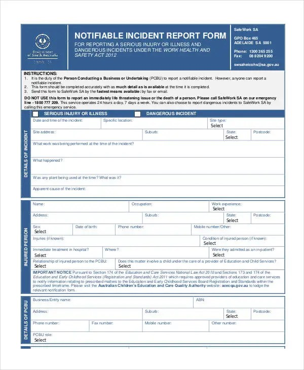 Blank Incident Report Template - 17+ Free PDF Format Download