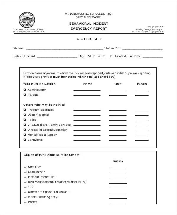 Behavior Incident Report Template - 15+ Free PDF Format Download - incident report forms
