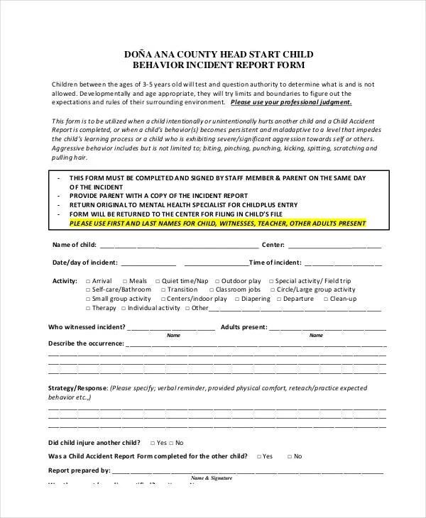 Behavior Incident Report Template - 15+ Free PDF Format Download