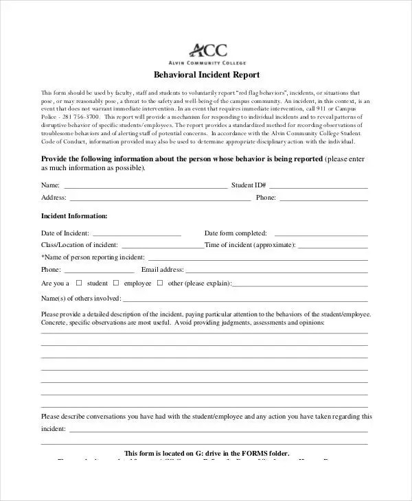 Behavior Incident Report Template - 15+ Free PDF Format Download
