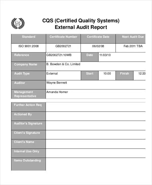 Quality Audit Report Templates - 10+ Free Word, PDF Format Download
