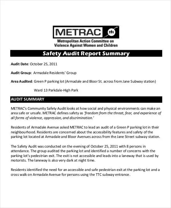 Safety Audit Report Templates - 13+ Free PDF Format Download! Free - audit summary template