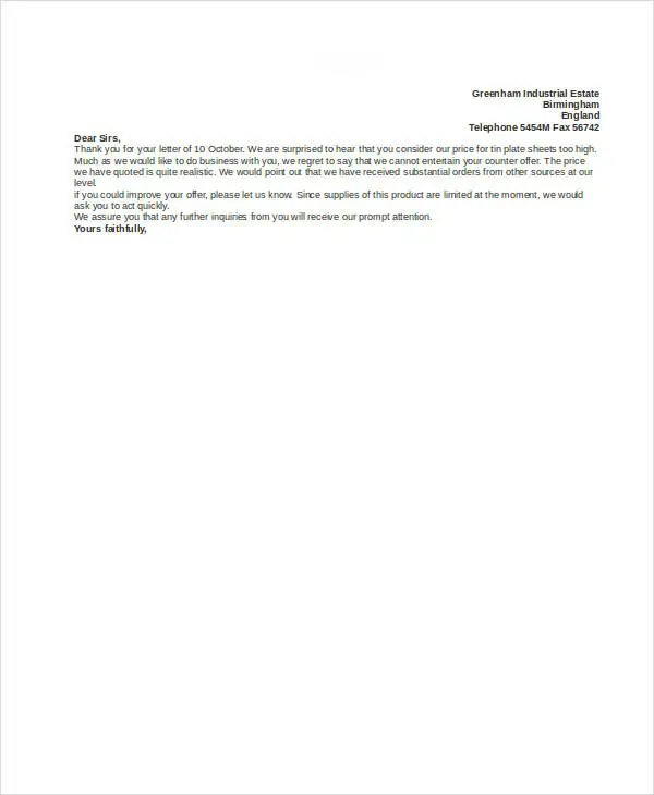 Counter Offer Letter Template - 9+ Free Word, PDF Format Download - decline offer letter