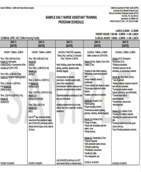 example of training schedule - Ozilalmanoof - sample training plan