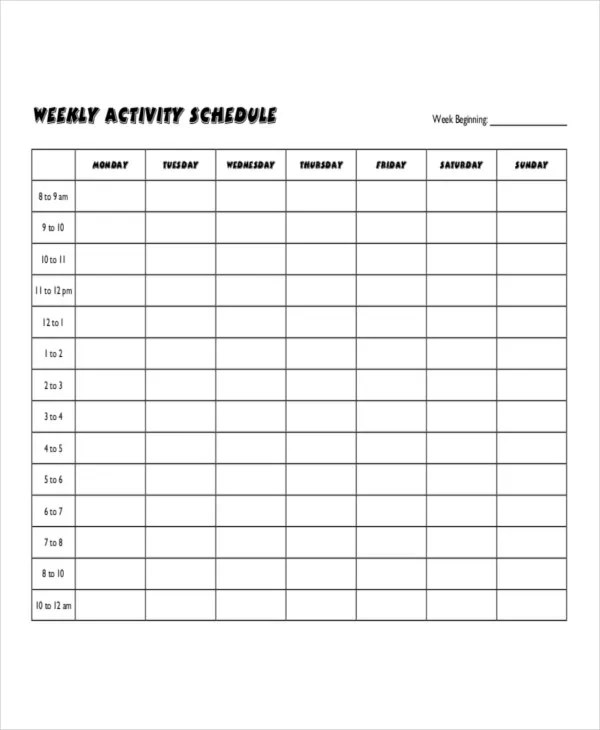 Weekly Activity Schedule Templates - 5+ Free Word, PDF Format