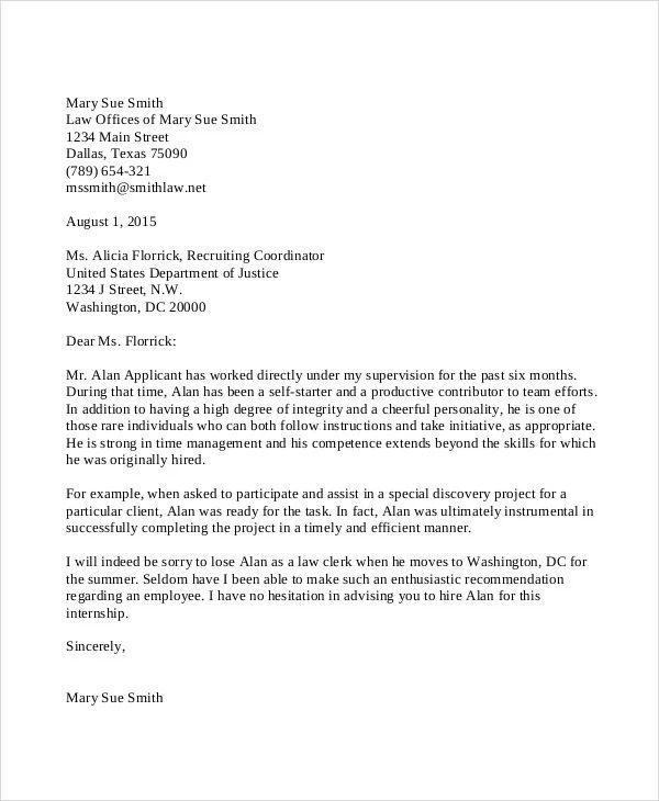recommendation letter for student applying for internship