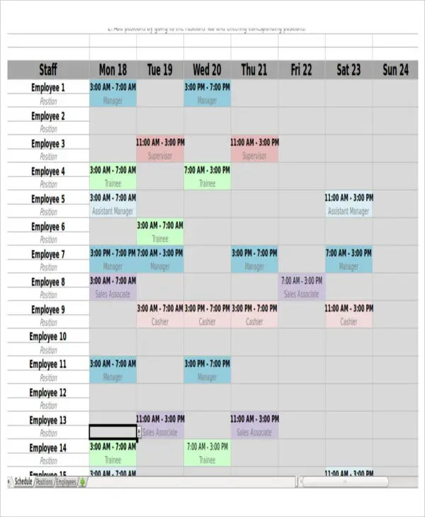 4+Monthly Shift Schedule Templates + Free Word, PDF Format Download