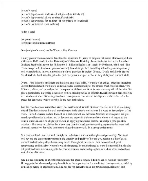 Internship Reference Letter Templates- 7+ Free Word, PDF Format