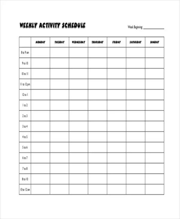 blank workout template