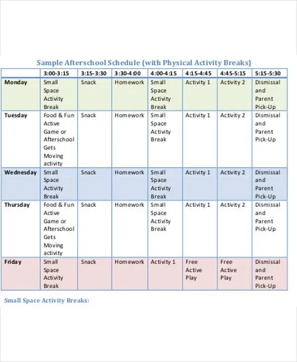 After School Schedule Template - 11+ Free Word, PDF Format Download - school scheduling template