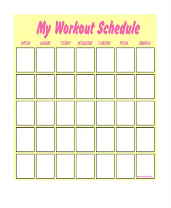 Blank Workout Schedule Templates - 7+ Free Word, PDF Format Download
