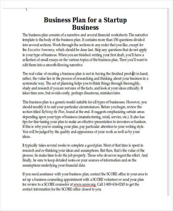 business plan template free word