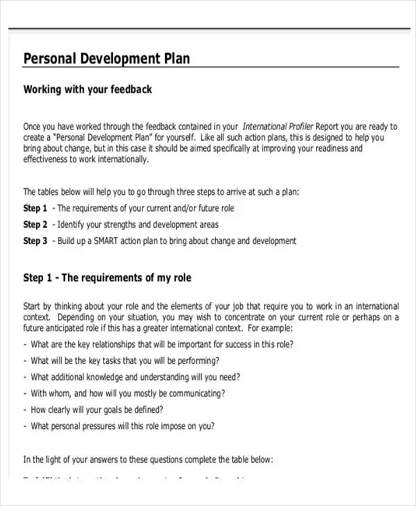 Personal Development Plan Sample Templatebillybullock – Personal Development Action Plan Template