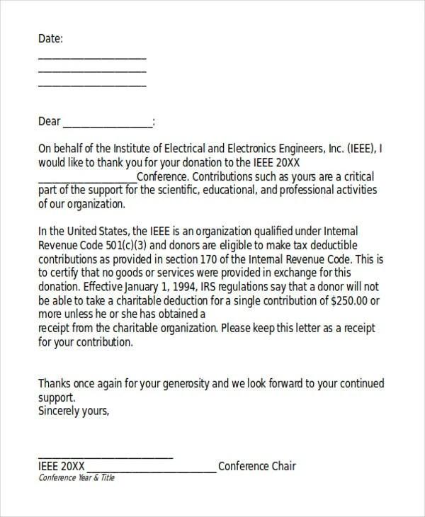 5+ Donation Acknowledgement Letter Templates - Free Word, PDF Format - donation receipt letter