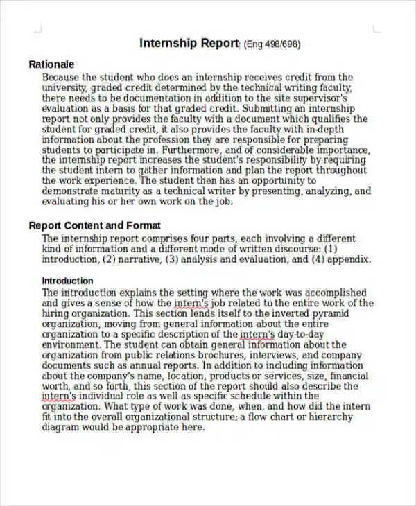 Internship Student Report Templates - 11+ Free Word, PDF Format - Internship Report Sample