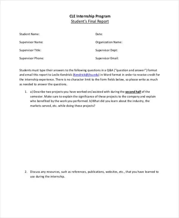 Internship Student Report Templates - 11+ Free Word, PDF Format