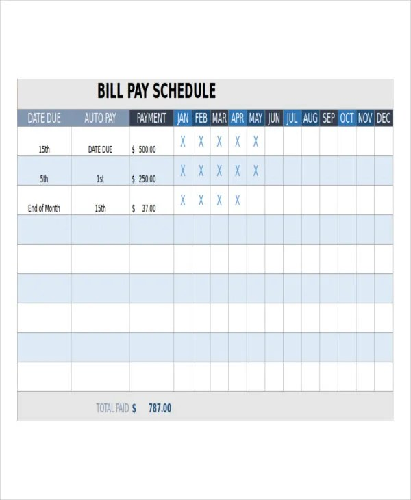 paid bills template - Ozilalmanoof - monthly payment template