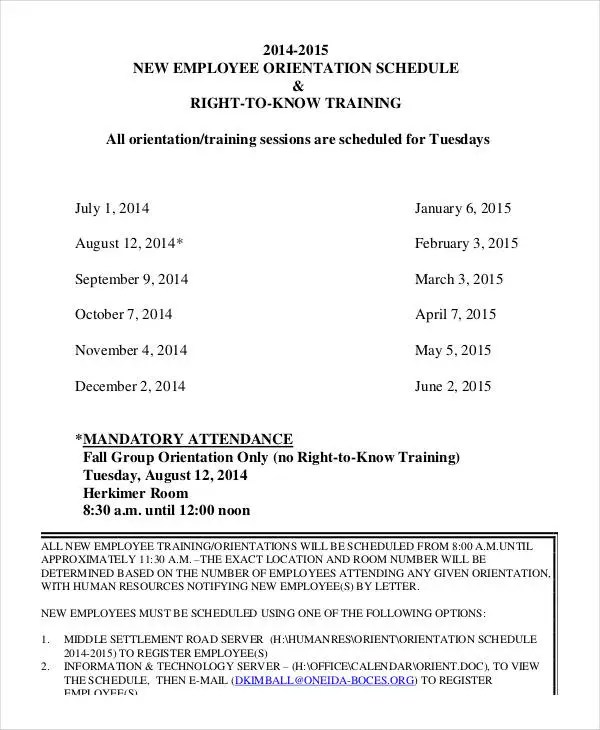 Employee Training Schedule Template - 14+ Free Word, PDF Format