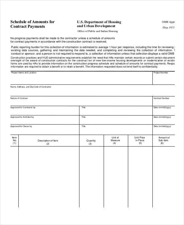 Contract Payment Schedule Template - 10+ Free Word, PDF Format