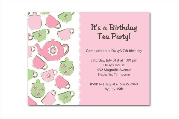 Tea Party Invitation - 9+ Design, Template, Sample, Example Free - tea party invitation