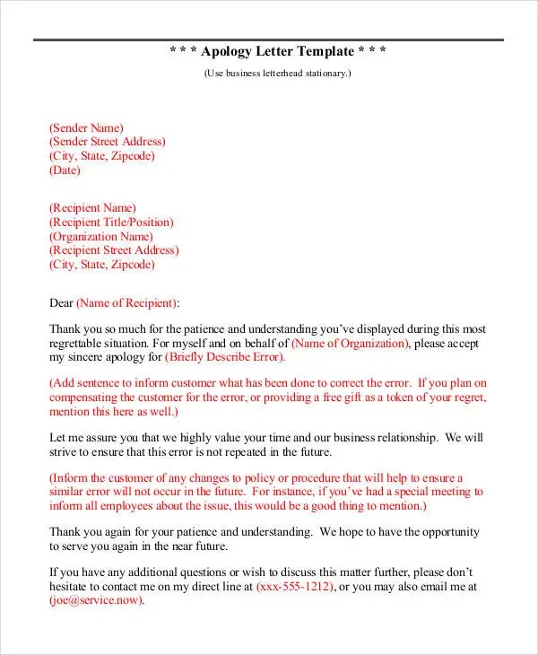 Apology Letter Template - 9+ Free Word, PDF Documents Download