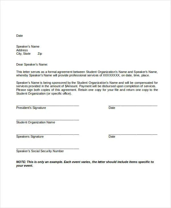 Service Letter Template - 11+ Free Sample, Example Format Download - agreement letter examples