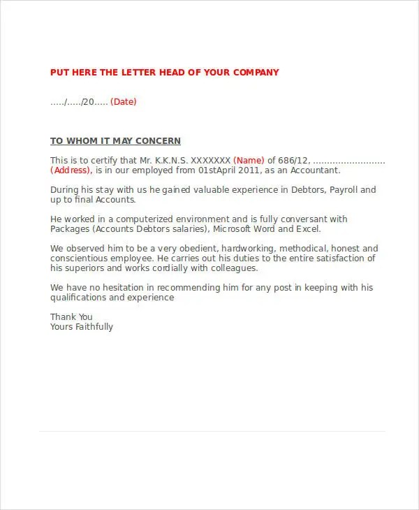 Service Letter Template - 14+ Free Sample, Example Format Download - service letter format