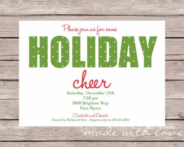 Holiday Party Invitation - 8+ Design, Template, Sample, Example - holiday party invitation