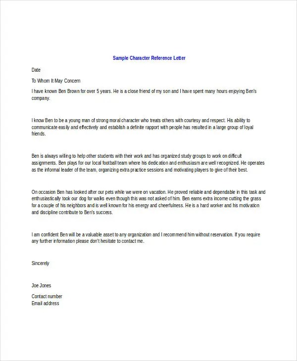 Character Letter Templates - 7+ Free Sample, Example Format Download - letter of character template