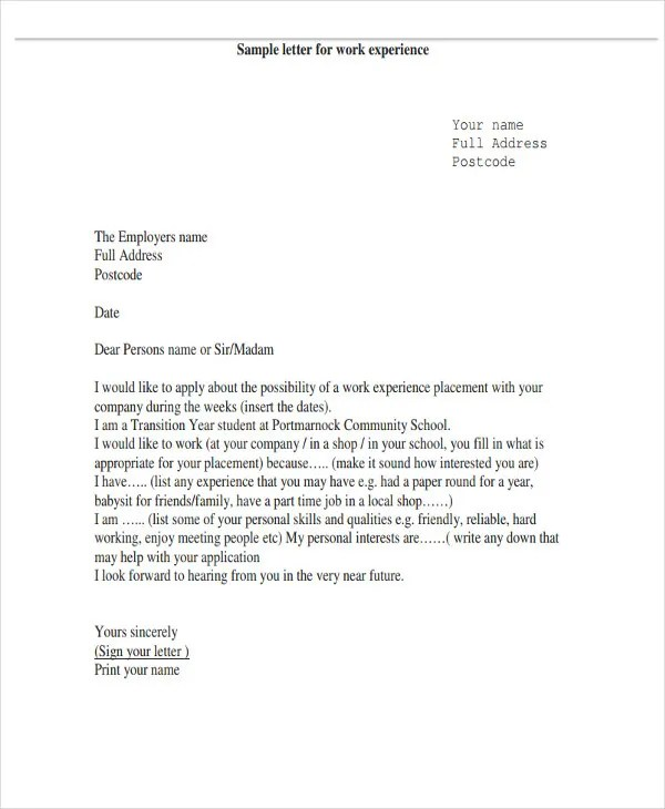 6+ Work Letter Templates - 6+ Free Sample, Example Format Download