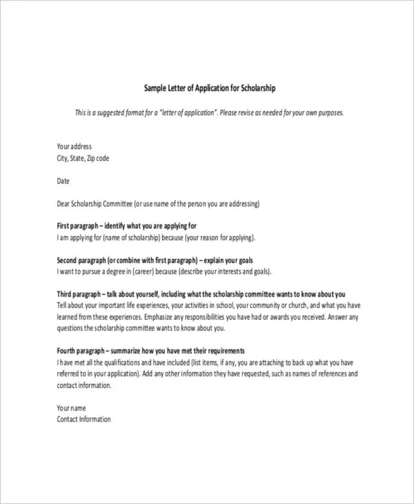 Scholarship Letter Template - 8+ Free Sample, Example Format