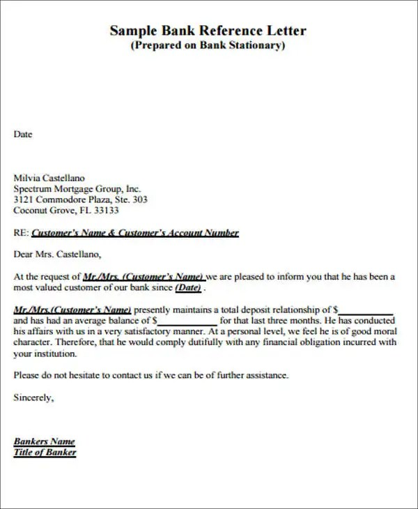 ... Bank Letter Templates   10+ Free Sample, Example Format Download   Bank  Reference Letter ...