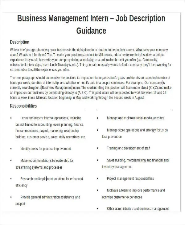 6+ Business Work Schedule Templates- 6+ Free Word, PDF Format - general intern job description