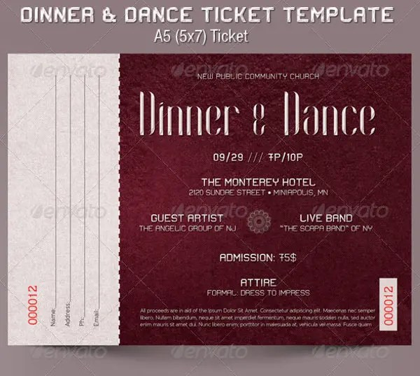 6+ Dinner Ticket Tem6lates - - Free PSD, AI, Vector EPS Format - banquet ticket template