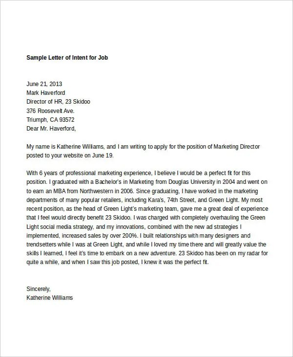 9+ Intent Letter Templates - Free Sample, Example Format Download