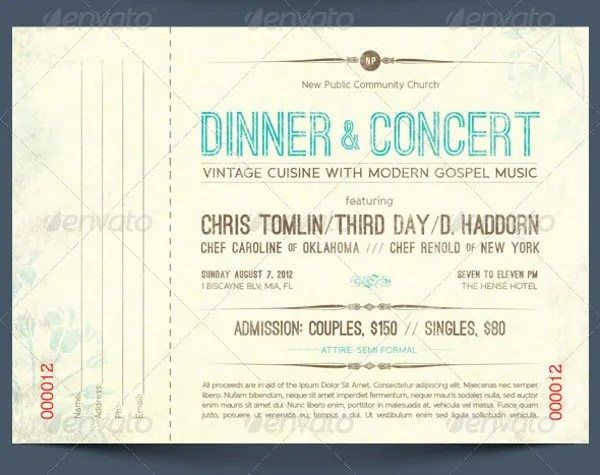 6+ Dinner Ticket Tem6lates - - Free PSD, AI, Vector EPS Format - fundraising ticket templates