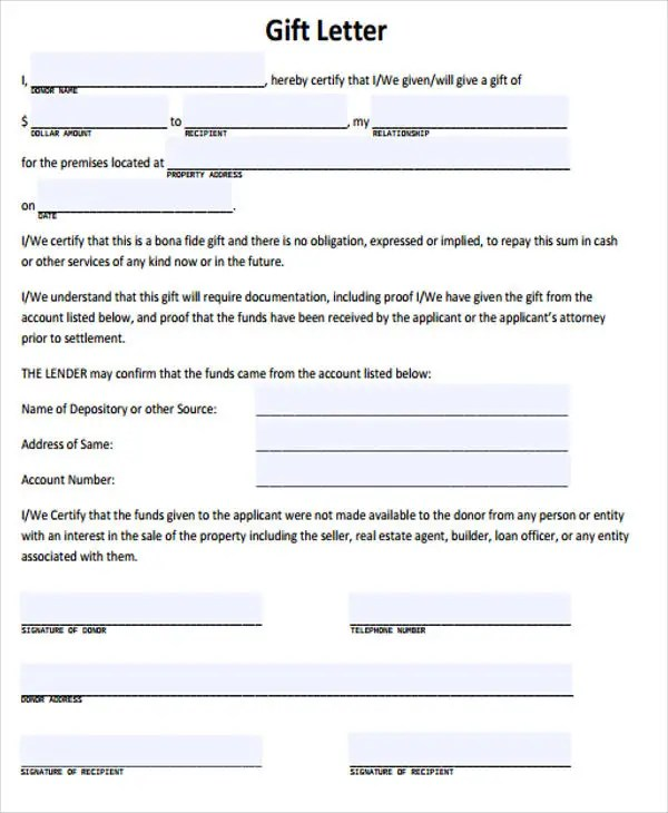 Gift Letter Templates -8+ Free Word, PDF Format Download Free