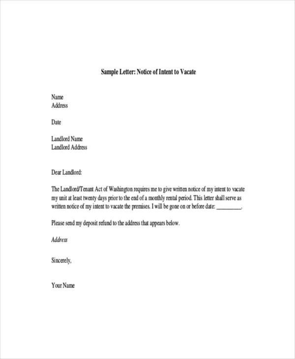 9+ Intent Letter Templates - Free Sample, Example Format Download - sample intent to vacate letter